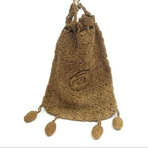 Victorian Brown Crochet Drawstring Reticule Bag